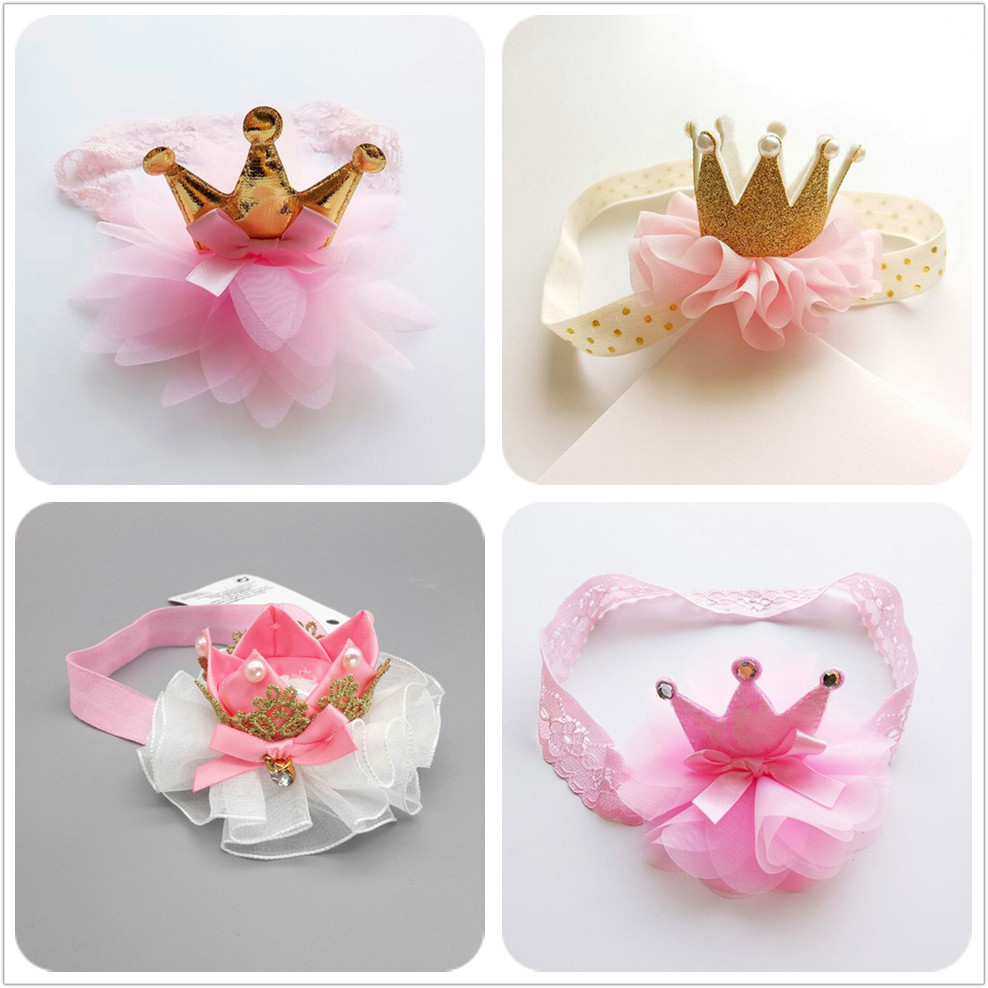 Newborn toddlers flower ribbon bow Crown Headband kids girl Hair Band New Head Wrap Hair Accessories Princess  Tiara Headband D8 headband baby girl hair bows newborn elastic hair band kids cute children hair accessories ribbon head band with dot 2pcs set