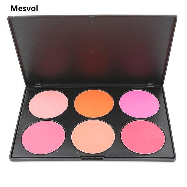558edf176 Paleta de Maquillaje Blush 1 unids Pro 6 Coloretes Paleta de Colores  Mineraliza Polvo de la