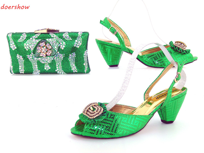 doershow Italian Matching Shoes and Bag Set African Wedding Shoe and Bag Sets Matching Shoes and Bags for Wedding  JK1-17 african wedding shoes and bag sets women pumps decorated with diamonds italian matching shoe and bag mm1014