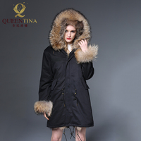 2018 New Raccoon Fur Parka Jacket Hooded Raccoon Fur Collar Winter Warm Long Coat Thick Real Fur Parkas Women Natural Fur Jacket