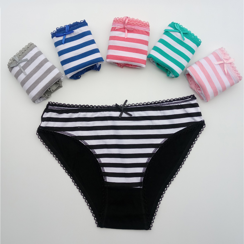 Women's   Panties   Cotton Female Underwear Sexy Lace Bikini Briefs Plus Size Lingerie Striped Print Intimates 5 Pcs/set FUNCILAC