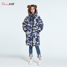 SheonDHF Camouflage Parkas Winter Woman 2017 New Collection Long Hooded Down Jacket Women Camperas Winter Clothes Ladies Coats