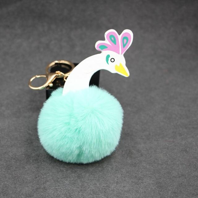 Pavão pele de coelho pompom bola pompons pom Artificial keychain chave mulheres da cadeia de saco carro chaveiro porte clef titular fofo pom pom