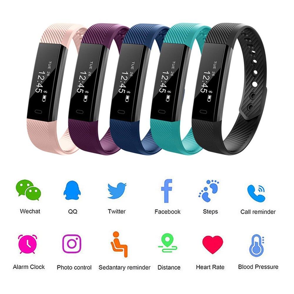 Outdoor Fitness Tracker OLED correr caminar podómetro Monitorización del ritmo cardíaco inteligente paso contador salud actividad de sueño