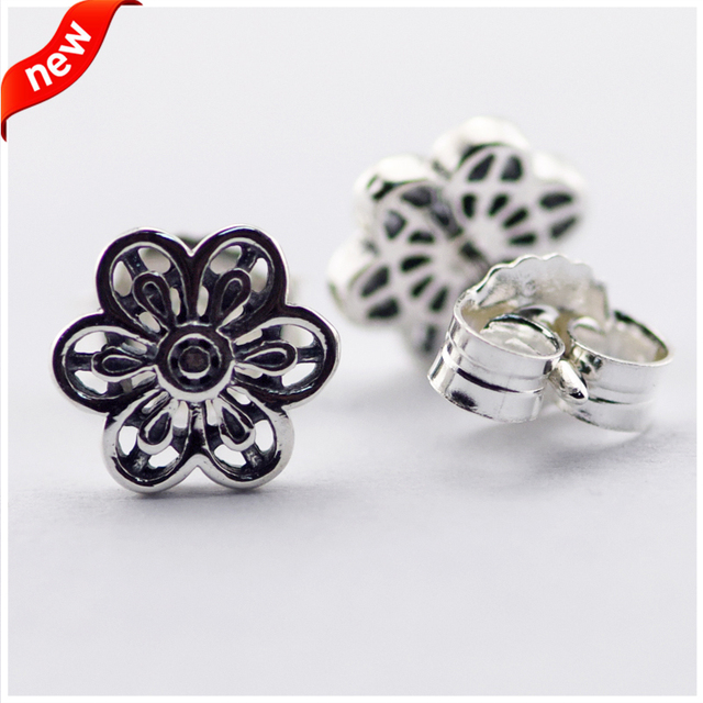 2016 New Compatible with European Style Floral Daisy Lace Stud Earrings for Women 100% 925 Sterling Silver Jewelry FLE15057
