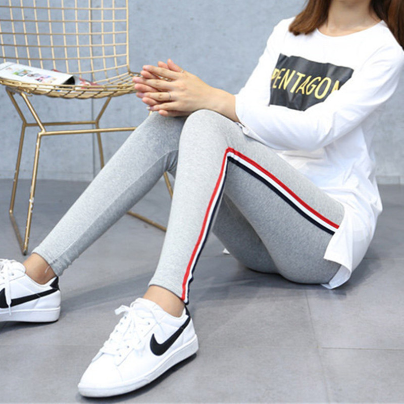 Image 3 - Plus Size 5XL Quality Cotton Leggings Side Stripes Women Casual High stretch Leggings Pants High Waist Fitness Leggings Female-in Leggings from Women's Clothing