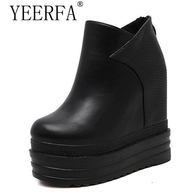 Chaussures de mode bottines en cuir augmentation bottes coins chaussures mode casual dames bottes,noir,38