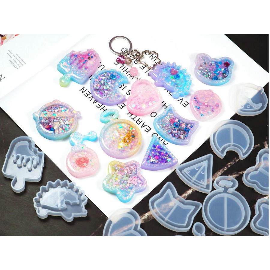 DIY Key Chain Charms Mold Resin Feet Mill Shaker Silicone Epoxy Resin Quicksand
