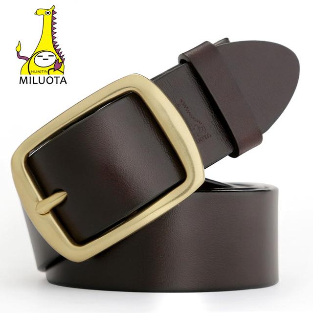[Miluota] mens cinturones de lujo 100% cuero genuino cinturón hombre diseñador de la marca mu001