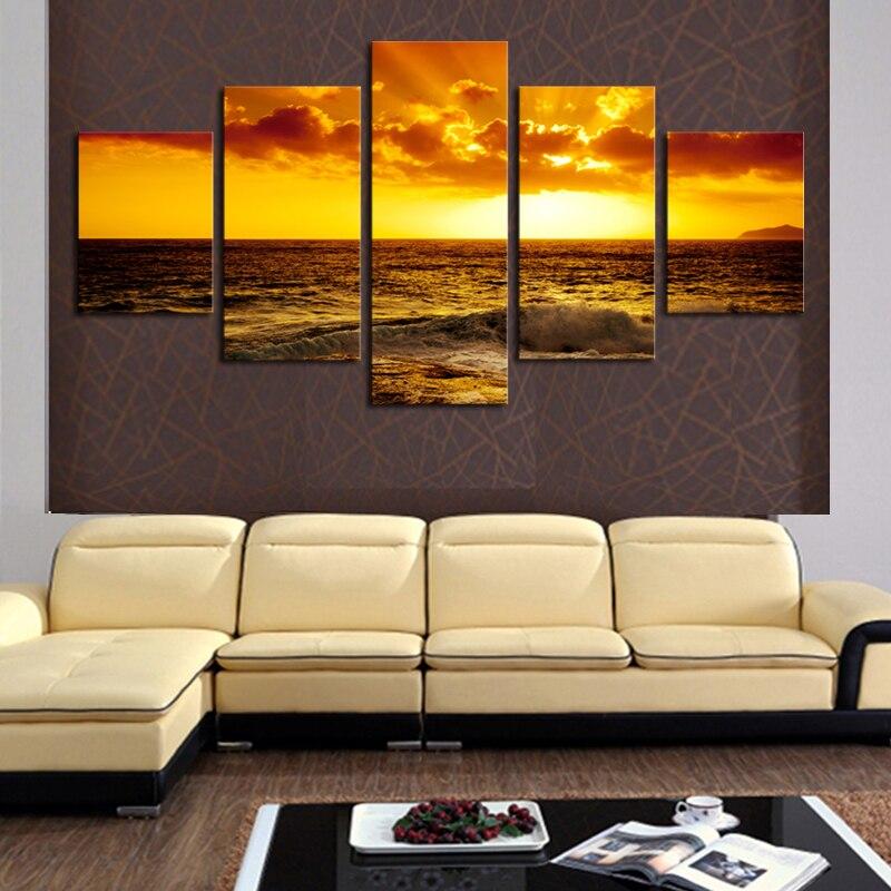 Unframed 5 Piece Setting Sun Ocean Seascape Modern Home Wall Decor ...