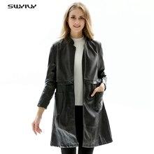 SWYIVY Women Leather Trench Coats PU Slim Long Design 2019 Spring Autumn New Female XXXL Elegant Coat Lady Clothing
