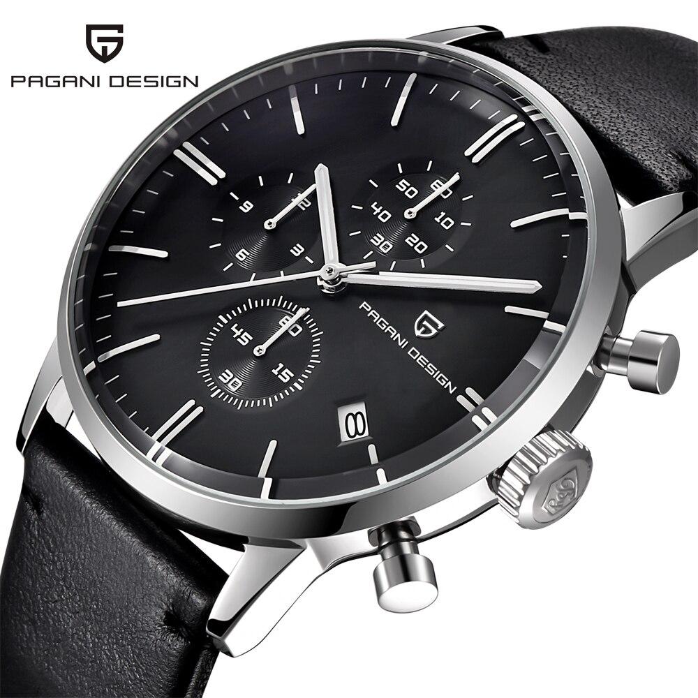 Relógios masculinos marca de luxo à prova d30 água 30 m couro genuíno japonês seiko vk67 movimento relógios quartzo masculino relogio masculino