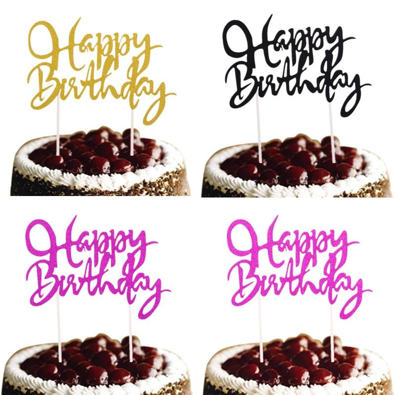 10pcs/lot Happy Birthday Cake Topper Customised Glitter Cake Flags Birthday Wedding Party Cake Baking Decor Babyshower Cake Flag
