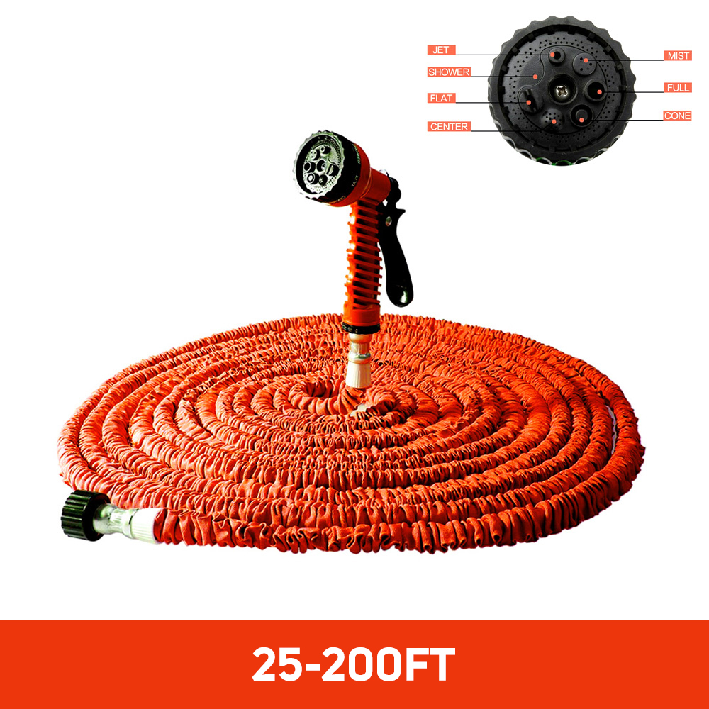 Hot Selling 100FT Expandable Magic Flexible Garden Water Hose For Car Hose Pipe Plastic Hoses To Watering With Spray Gun ORANGE