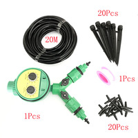 Garden Hose 20M DIY Micro Drip Irrigation kit Plant Self Automatic Watering Timer Kits With Adjustable Dripper Irriigation kit