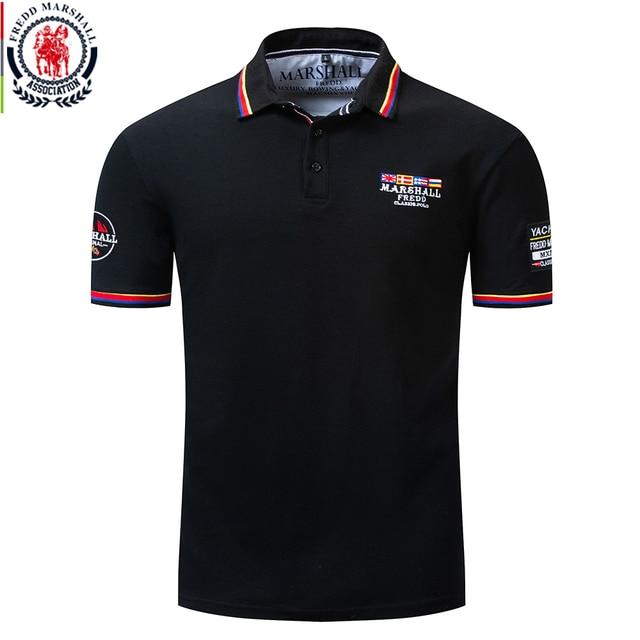 Fredd מרשל 2019 חדש דגל רקמת חולצת פולו גברים 100% כותנה קצר שרוול עסקי מזדמן מוצק צבע מותג פולו חולצה 039