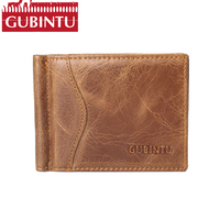 GUBINTU 100 Genuine Leather Rfid Wallet Famous Brand Coins Pocket Men Purse First Layer Cowhide Male