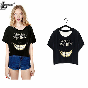 """Lei-SAGLY 2018 """"We're All Mad Here"""" Harajuku T-shirt Short Crop Tops Punk Sleeve Women Clothes Summer Style O-Neck T shirts F977"""