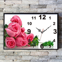 New 5d diy Flowers Rose Full Round Diamond Painting Diamond Embroidery Wall Clocks For Home Decoration