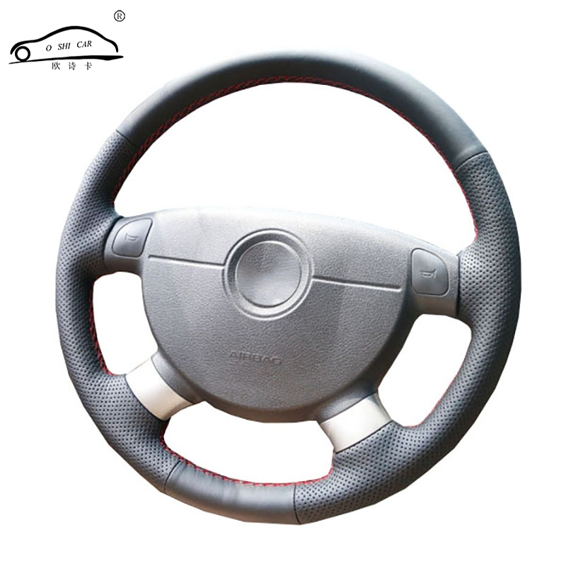 Tresse de volant de voiture en cuir artificiel pour Chevrolet Lova Aveo Buick Excelle Daewoo Ge / Sur mesure volant couvre-volant