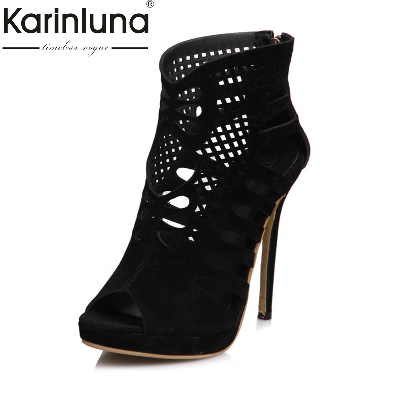 KarinLuna 2018 Fashion Large Size 30-48 Thin High Heels Woman Pumps Woman Zip Up Black Peep Toe Woman Pumps Shoes Woman туфли zenden woman zenden woman ze009awprf46