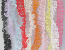 10 yards 20mm width lace for girls skirt multicolor organza hat DIY sewing supplies