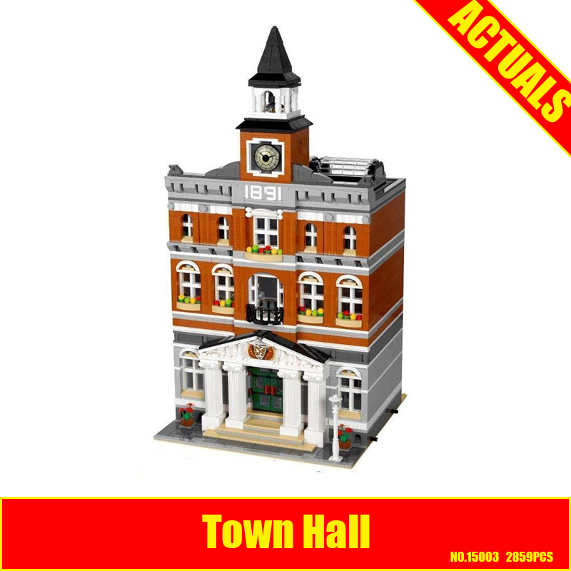 2017 lepin 15003 new 2859Pcs The topwn hall Model Building Blocks Kid Toys Kits compatible 10224 Educational Children day Gift lepin 02012 city deepwater exploration vessel 60095 building blocks policeman toys children compatible with lego gift kid sets