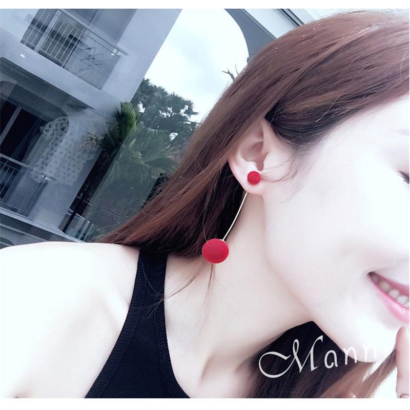 Fashion Elegant Red Black Plush Ball Drop Earrings/Pearl Long Earrings Gift for Wedding Party 3