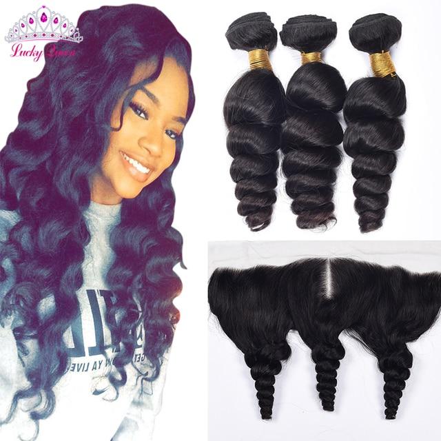 Brazilian Loose Wave with Closure, 13*4  Ear to Ear Lace Frontal Closure, Brazilian Virgin Hair Loose Wave Hair Weave Bundles