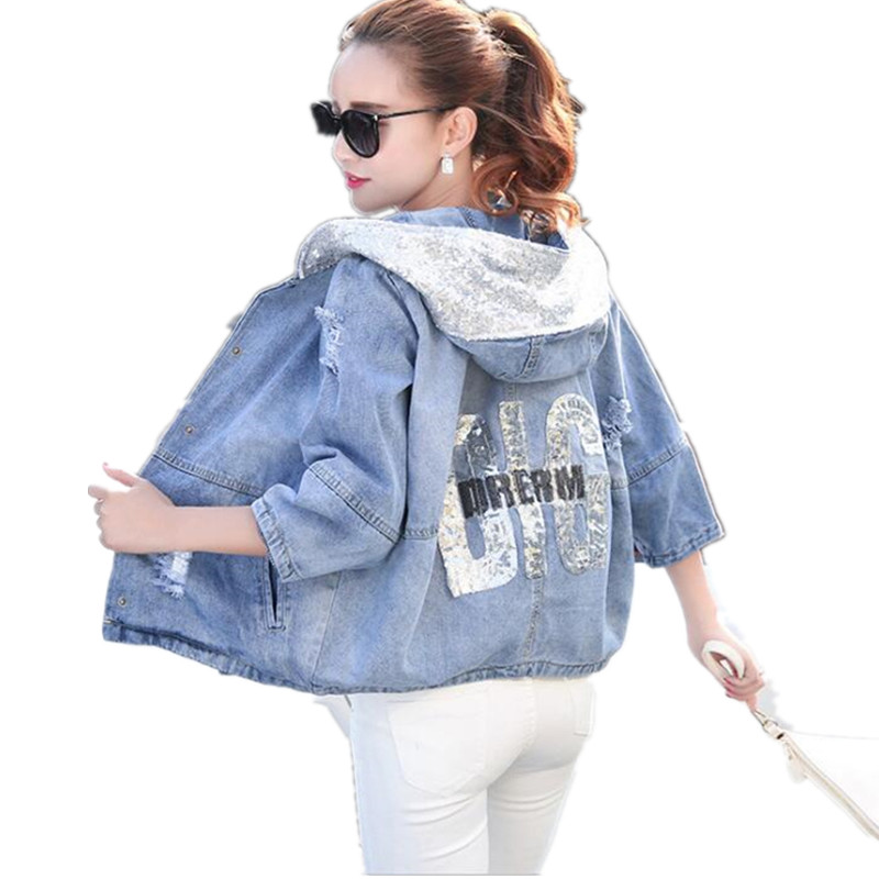 Spring Autumn Oversized Jeans   Jacket   Women Loose Sequin Hooded   Basic     Jacket   Coat Female Ripped Boyfriend Summer Denim Jacketk240
