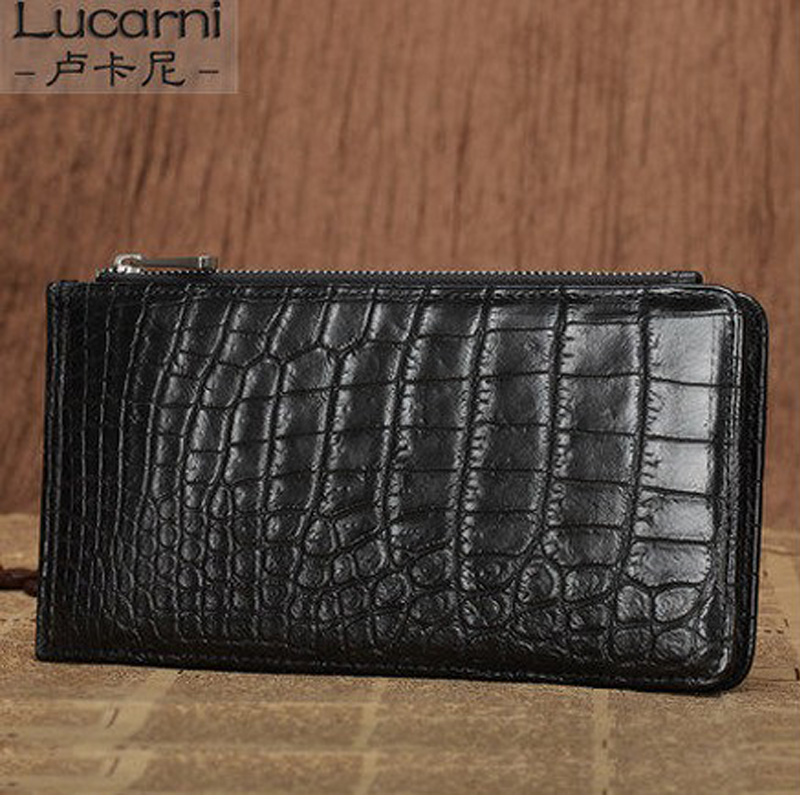 lukani crocodile skin  men card bag crocodile leather Multi-functional multi-card men's purse belly card men maibomengnuo authentic crocodile skin wallet belly belly fashionable contracted men thin money clip upright money