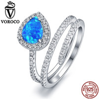 VOROCO Authentic 100 925 Sterling Silver Double Layer Blue Fire Opal Stone Glittering Open Adjustable Rings