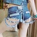 Короткие feminino новая мода отверстия Сплит заканчивается Галстук Флэш Регулируемая Ночной Клуб джинсовые шорты женщины pantalones cortos mujer короткие джинсы