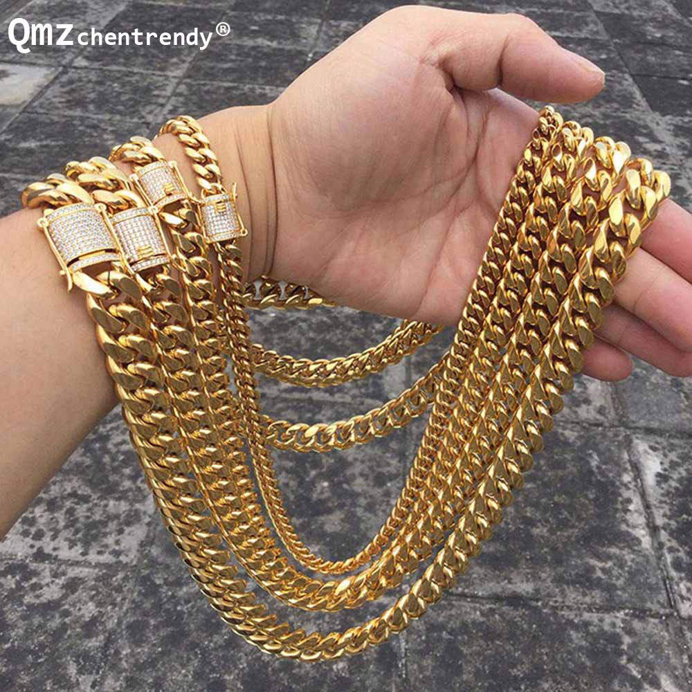 Hip hop 10/14mm Men Cuban Miami Chain Necklace Stainless steel Rhinestone Clasp Iced Out Gold Silver casting Chain Necklaces trendsmax hip hop iced out bling full rhinestone men necklace gold stainless steel chain necklace for men jewelry khn109