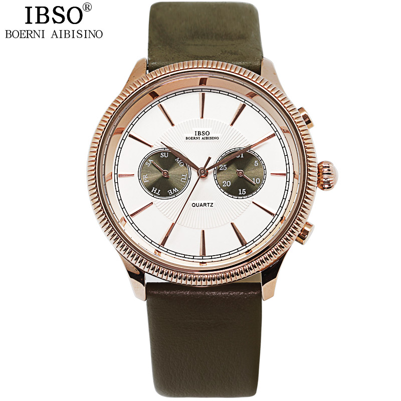 IBSO Multifunction Mens Watches Luxury Brand Genuine Leather Men Quartz Watch Religion Masculino 2018 Male Wrist Watch #6816 new world map mens genuine leather quartz watch wood bamboo male wrist watch luxury brand reloj de madera genuine with gift box