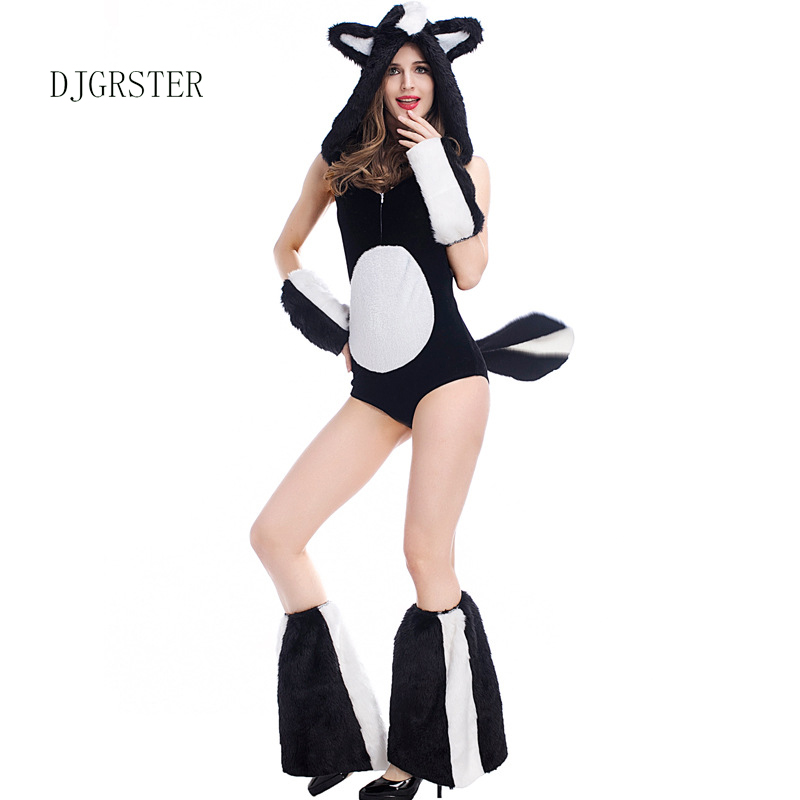 DJGRSTER Fluffy skunk sexy black Coverall models fitted plush animal Halloween clothing uniformsdress temptation game costume