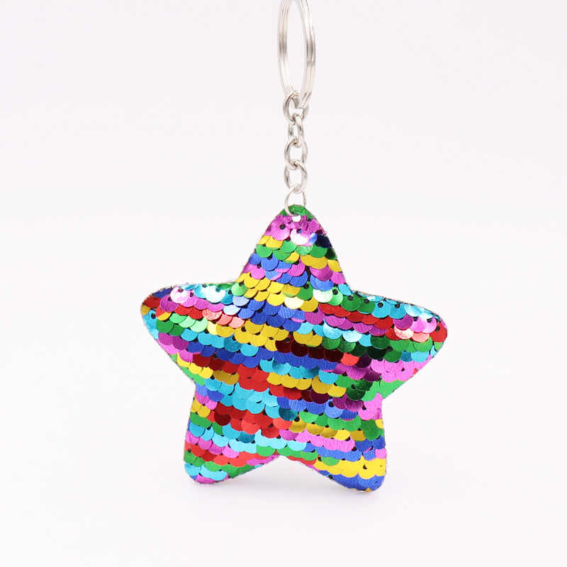 New Chaveiro Star Keychain Glitter Pompom Sequins star Key Chain Gifts for  Women Car Bag Accessories 0736a1edd5