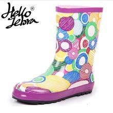 Hellozebra Femmes de Boucle Cheville Haute Pluie Bout Rond Non-Slip Coloré  Rainboots En Caoutchouc Taille 35-40 Coton tissu En F.. cae6e784aa9b