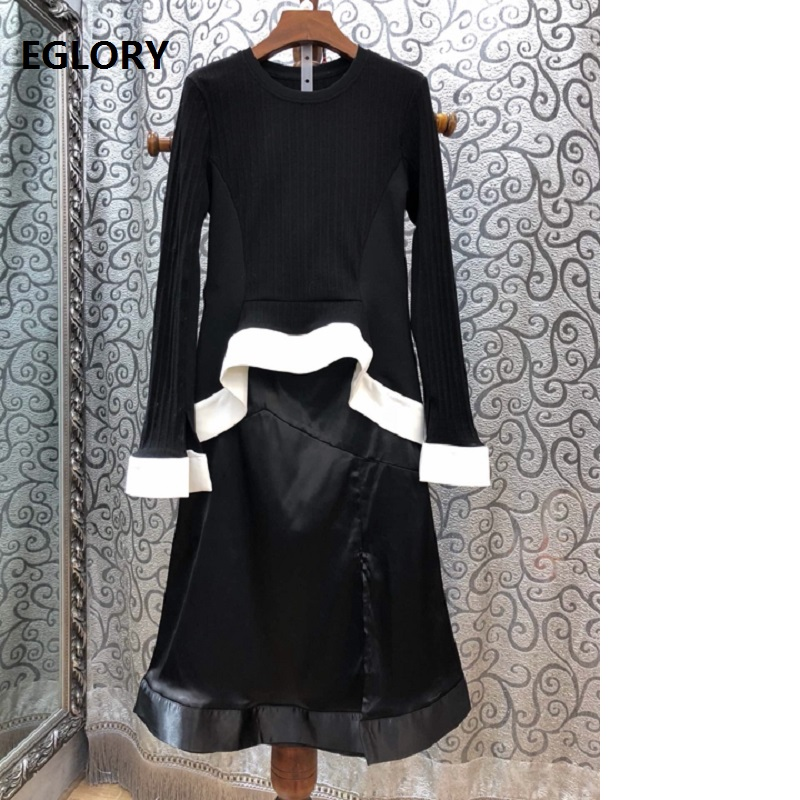 Prime Grade Designer Clothes Go well with Ladies Lengthy Sleeve Knitted Sweater+Mid-Calf Size Skirt Go well with Women Informal Sweater Go well with & Units