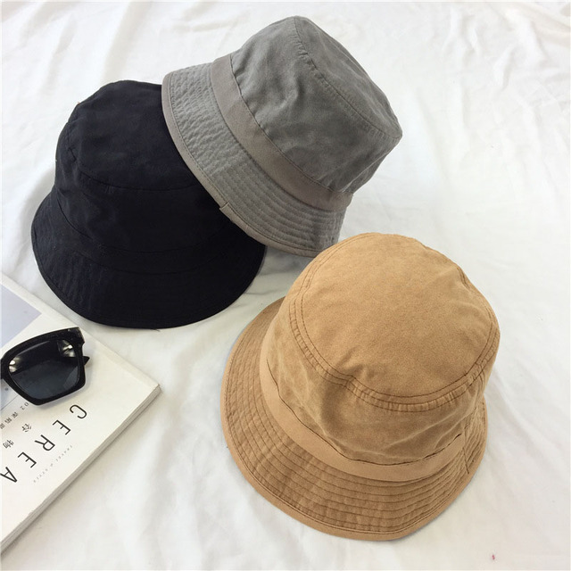 4139ba56963 Solid Suede Bucket Hat outdoor climbing hats for women flat Men fishing Cap  brand fisherman hat Shopping service