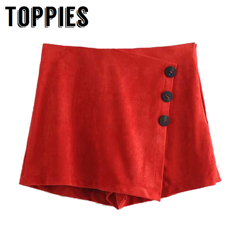 2019 Women Suede   Shorts   Skirts Single Breasted Asymmetrical Skort High Waist Faux Leather   Shorts   in Red Black Streetwear