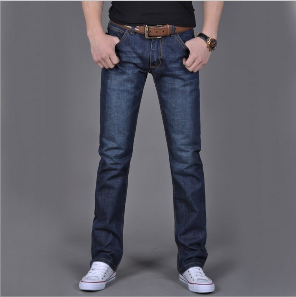ClassDim Men's Straight Denim Jeans Navy Blue Solid Long Jeans New Fashion Male Classic Style Denim Jeans