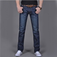 ClassDim Men's Straight Denim Jeans Navy Blue Solid Long Jeans