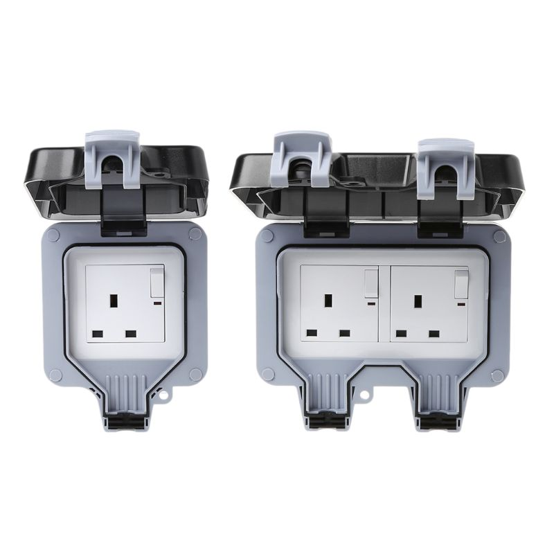 Outdoor Wall Switch Socket IP66 Weather&Dust Proof Power Outlet UK Standard  Outdoor Wall Switch Socket IP66 Weather&Dust Proof Power Outlet UK Standard