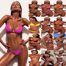 2019 New Ladies Sexy Split Solid Color Swimsuit  Bikini Set Female Low Waist Summer Beach Wear