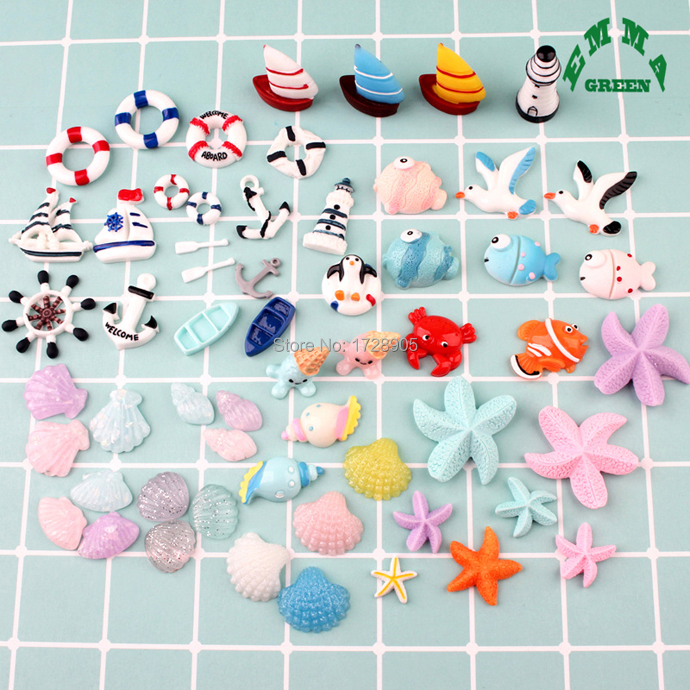 Resin Adorable Cartoon Cute Nautical Ocean Animal 10 pcs Resin Flatback Cabochon for Hair Bow Center Scrapbooking in Charms from Jewelry Accessories
