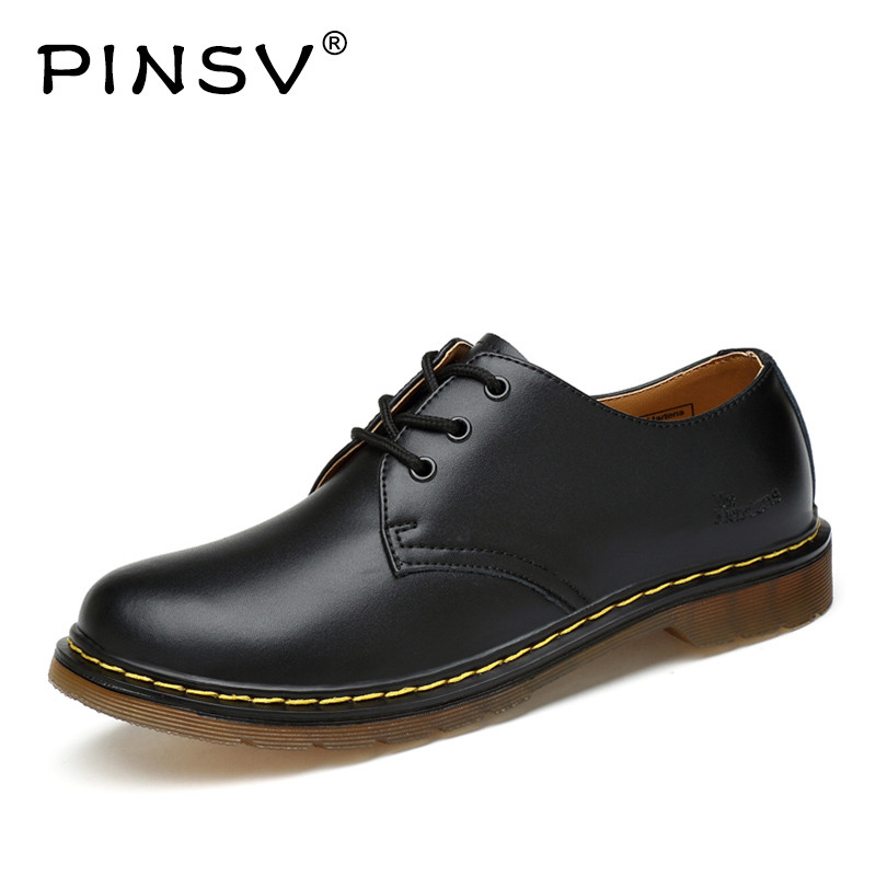 PINSV Mens Leather Shoes Black Work Mens Shoes Casual Oxford Shoes For Men Flats Sapato Masculino Zapatos Hombre Size 38-46 new 2016 autumn men shoes casual fashion canvas shoes men flats brand shoes for men breathable zapatos hombre sapato masculino