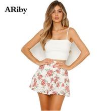 купить ARiby Women Floral Mini White Skirt 2019 New Spring and Summer Prairie Chic Chiffon Flower Printed Pleated A-Line Short Skirt дешево