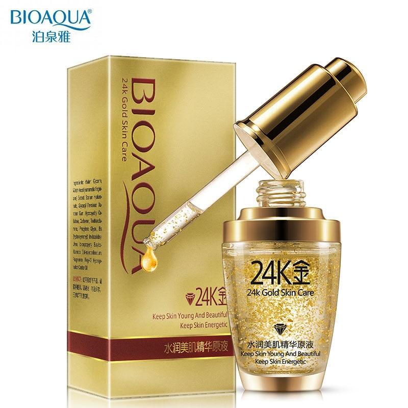 лучшая цена BIOAQUA Skin Care Pure 24K Gold Essence Day Cream Anti Wrinkle Face Anti Aging Collagen Whitening Moisturizing Hyaluronic Acid