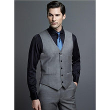 Hot Selling Grey Business Mens Vest Best Man Vest Custom Made Formal Occasion Vest Wedding/Prom/Dinner Waistcoat